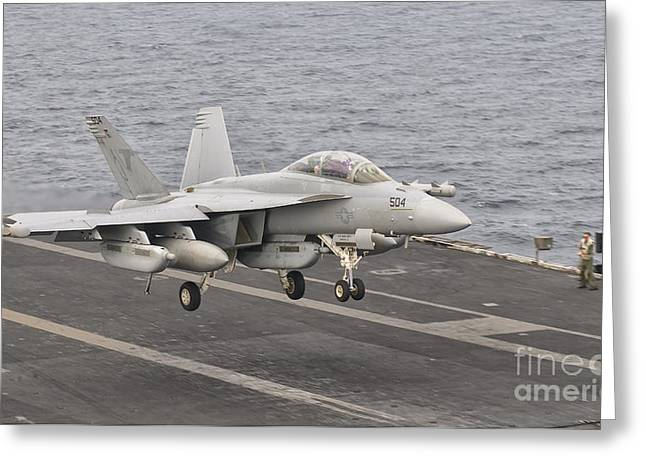 Jet Greeting Cards - An Ea-18g Growler Landing On The Flight Greeting Card by Giovanni Colla
