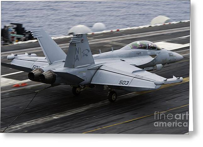 The Higher Planes Greeting Cards - An Ea-18g Growler Lands On The Flight Greeting Card by Stocktrek Images