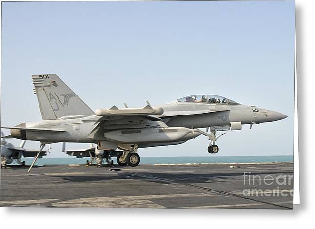 Jet Greeting Cards - An Ea-18g Growler Trap Landing Greeting Card by Giovanni Colla