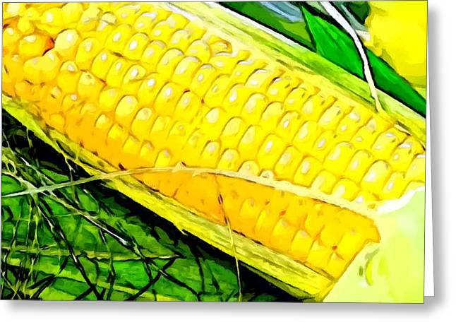 Vegeterian Greeting Cards - An ear of corn Greeting Card by Lanjee Chee