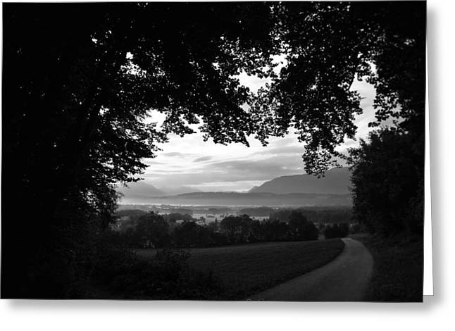 Foggy Road Greeting Cards - An Early Morning Glimpse of Hungary Greeting Card by Mountain Dreams