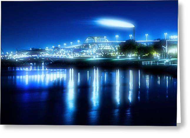 Lake Michgan Greeting Cards - An Early Morning look at Industrial Milwaukee with a cool pro-mist filter Greeting Card by Sven Brogren