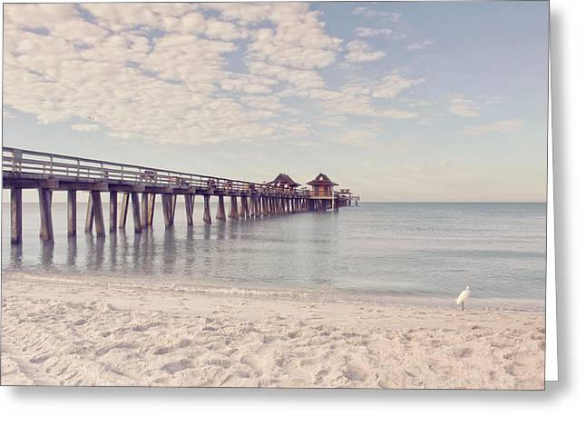Best Sellers -  - Kim Photographs Greeting Cards - An Early Morning - Naples Pier Greeting Card by Kim Hojnacki