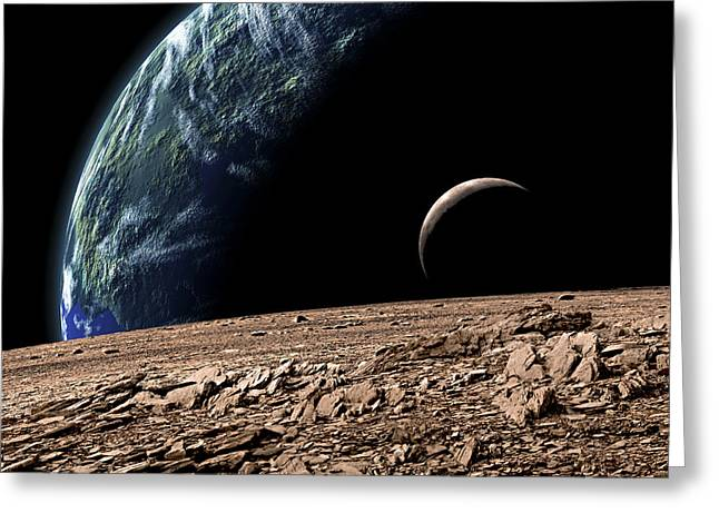 An Earth-like Planet In Deep Space Greeting Card by Marc Ward