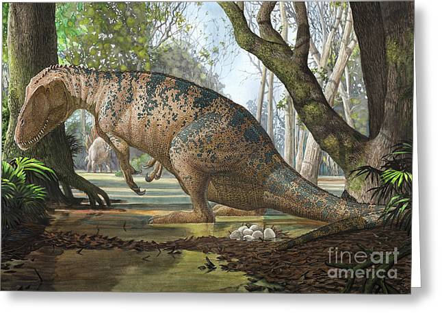 Zoology Digital Art Greeting Cards - An Edmarka Rex Finds Out That His Nest Greeting Card by Sergey Krasovskiy