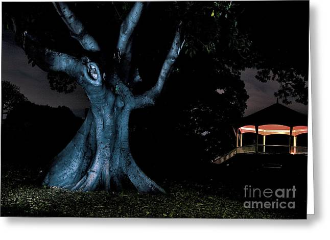 Bandstand Greeting Cards - An Eerie Evening Greeting Card by Kaye Menner