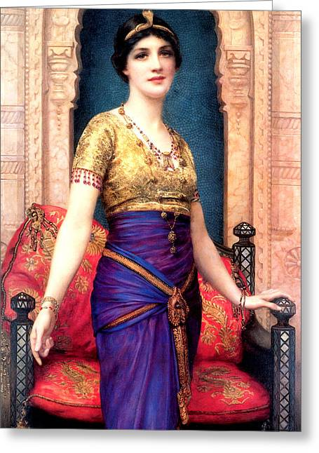 Old Masters Greeting Cards - An Egyptian Beauty Greeting Card by William Clarke Wontner