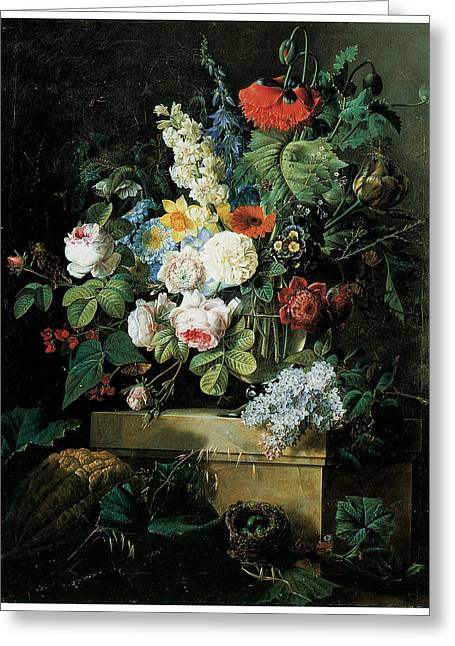 Glass Vase Greeting Cards - An Elaborate Still life of Flowers Greeting Card by Pierre-Joseph Redoute