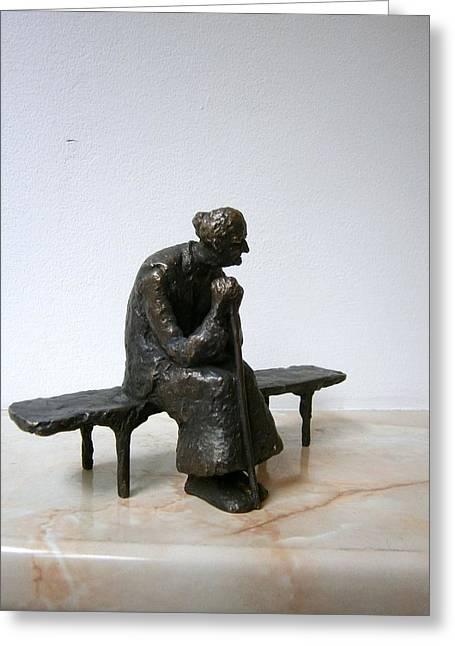 Figurine Sculptures Greeting Cards - An elderly woman on a bench Greeting Card by Nikola Litchkov