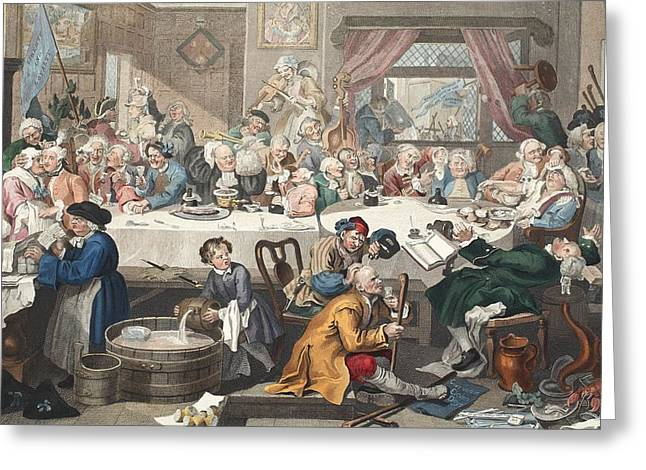 An Election Entertainment, Illustration Greeting Card by William Hogarth