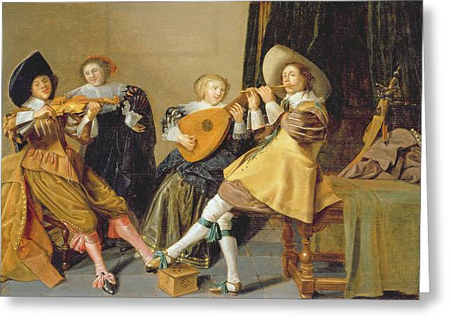 Lute Paintings Greeting Cards - An Elegant Company Playing Music In An Greeting Card by Dirck Hals