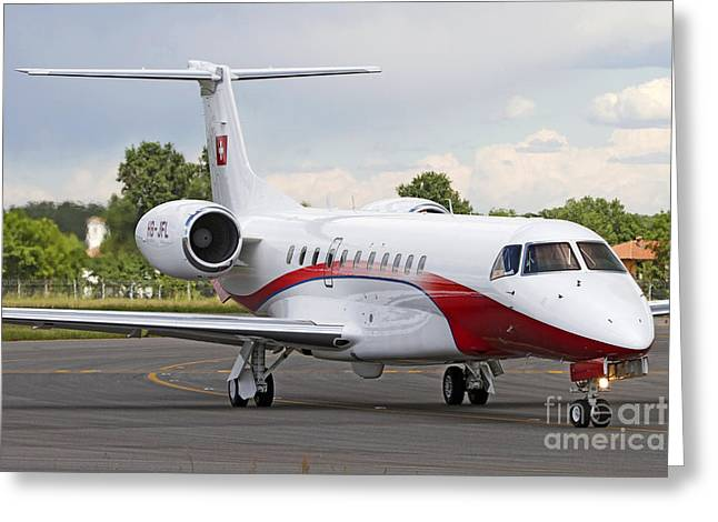 Private Jet Greeting Cards - An Embraer Legacy 600 Private Jet Greeting Card by Luca Nicolotti