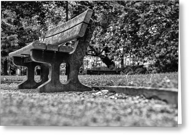 An Empty Park Bench Greeting Card by Georgia Fowler
