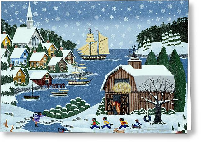 New England Village Paintings Greeting Cards - An End to Practice Greeting Card by Merry  Kohn Buvia