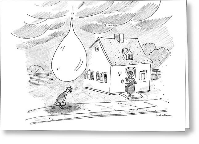 An Enormous Rain Drop Falls Out Of The Sky Onto Greeting Card by Michael Maslin