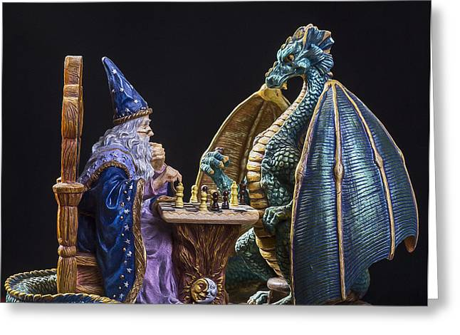 Merlin Greeting Cards - An Epic Chess Match Greeting Card by Bill Tiepelman