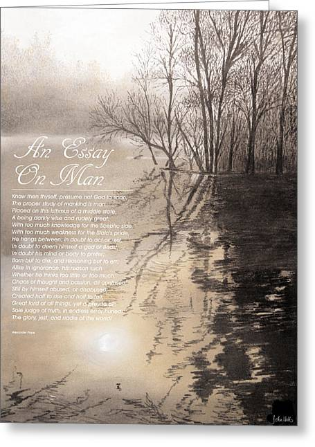 Poetry Pastels Greeting Cards - An Essay On Man Greeting Card by John Hebb