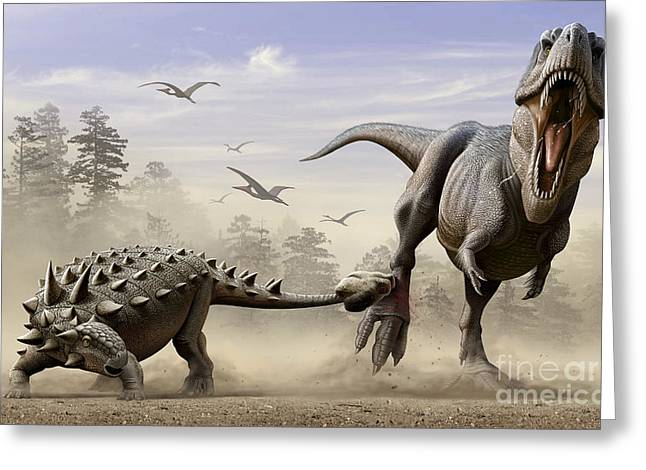 Tutu Digital Art Greeting Cards - An Euoplocephalus Hits T-rexs Foot Greeting Card by Mohamad Haghani