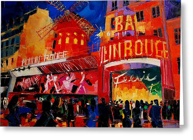 City Buildings Paintings Greeting Cards - An Evening At Moulin Rouge Greeting Card by Mona Edulesco