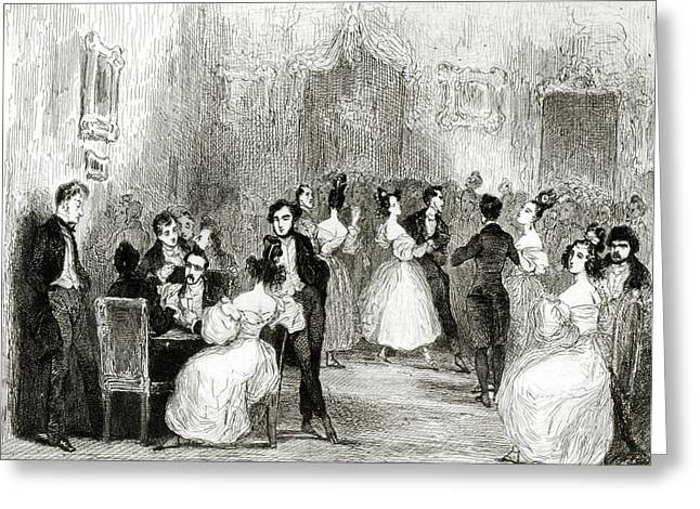 Playing Cards Photographs Greeting Cards - An Evening At The House Of Charles Nodier 1780-1844 1831 Wc On Paper Bw Photo Greeting Card by Tony Johannot