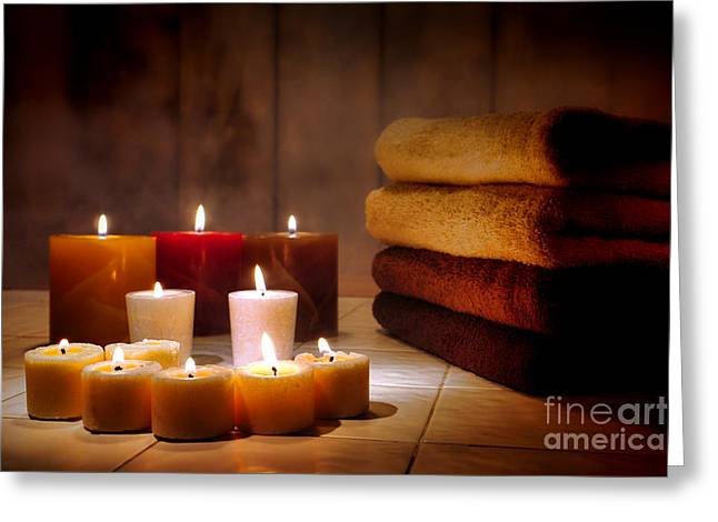 Candles Greeting Cards - An Evening at the Spa Greeting Card by Olivier Le Queinec
