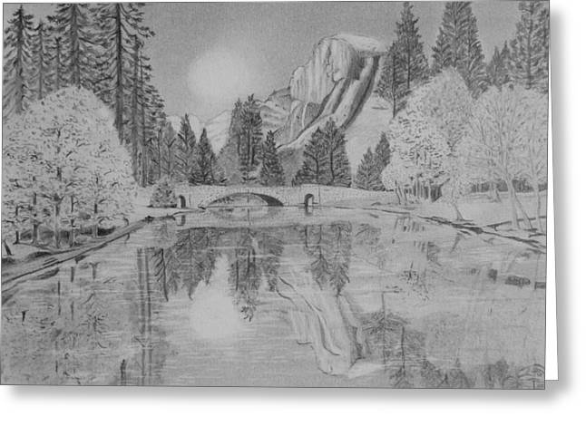 Reflections In River Drawings Greeting Cards - An Evening at Yosemite Greeting Card by Laurence Wright