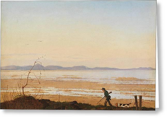 Johan Greeting Cards - An Evening beside Lake Arreso Greeting Card by Johan Thomas Lundbye