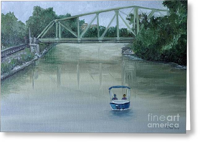 Market St Bridge Greeting Cards - An Evening  Boat Ride on Lachine Canal Greeting Card by Reb Frost