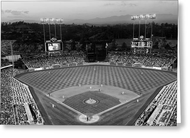 Dodger Stadium Greeting Cards - An Evening Game at Dodger Stadium Greeting Card by Mountain Dreams