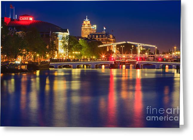 Old Light Bulb Greeting Cards - An evening in Amsterdam Greeting Card by Henk Meijer Photography