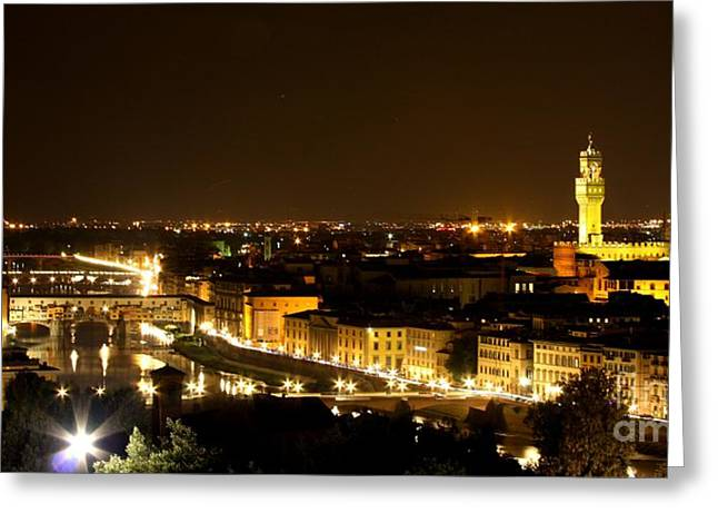 Italian Night Life Greeting Cards - An evening in Florence  Greeting Card by Sergio B
