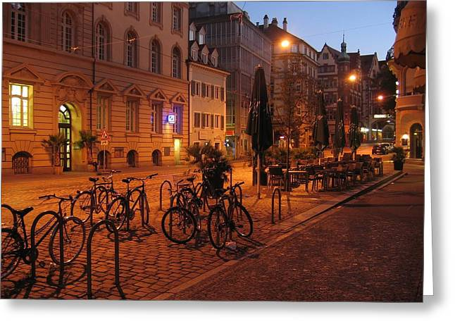 Cafe City Lights Greeting Cards - An Evening in Freiburg Germany Greeting Card by Mountain Dreams