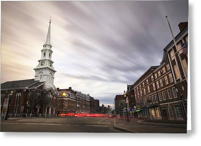 Old North Church Greeting Cards - An Evening in Market Square Greeting Card by Eric Gendron