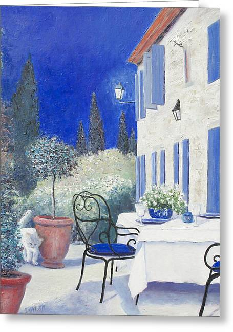 Village In France Greeting Cards - An Evening in Provence Greeting Card by Jan Matson