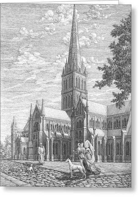 Dog Walking Greeting Cards - An evening in Salisbury. The right part of the triptych - The age of cathedrals. Greeting Card by Irina Sumanenkova