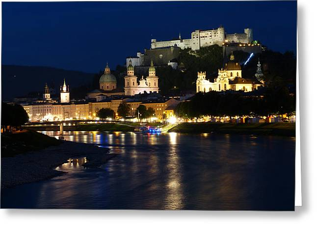 Urban Buildings Greeting Cards - An Evening in Salzburg Greeting Card by Mountain Dreams
