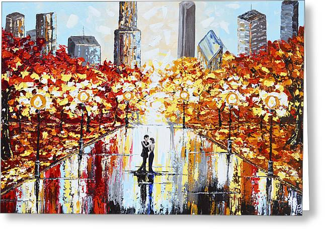 Artist Christine Krainock Greeting Cards - An Evening in the City Greeting Card by Christine Krainock
