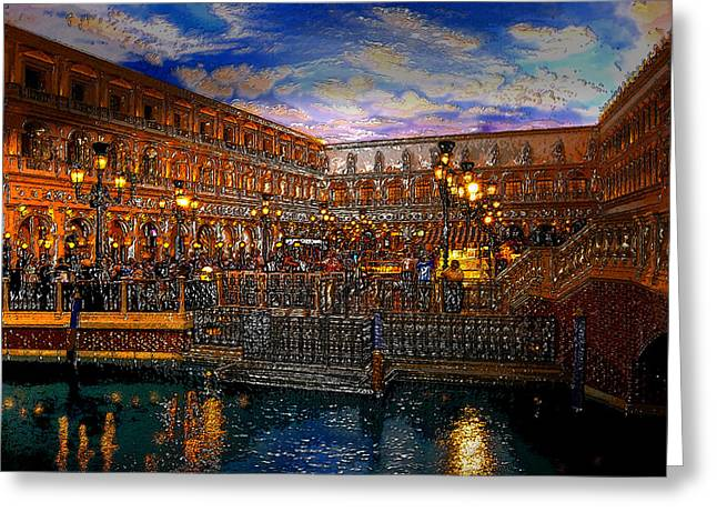 Night Lamp Digital Art Greeting Cards - An evening in Venice Greeting Card by David Lee Thompson