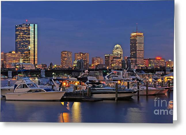 Boston Light Greeting Cards - An Evening on the Charles Greeting Card by Joann Vitali
