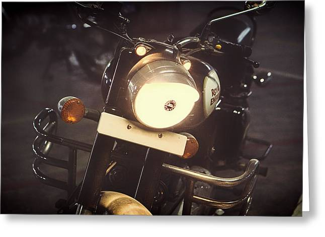 Enfield Greeting Cards - An Evening on the Royal Enfield Greeting Card by Mountain Dreams