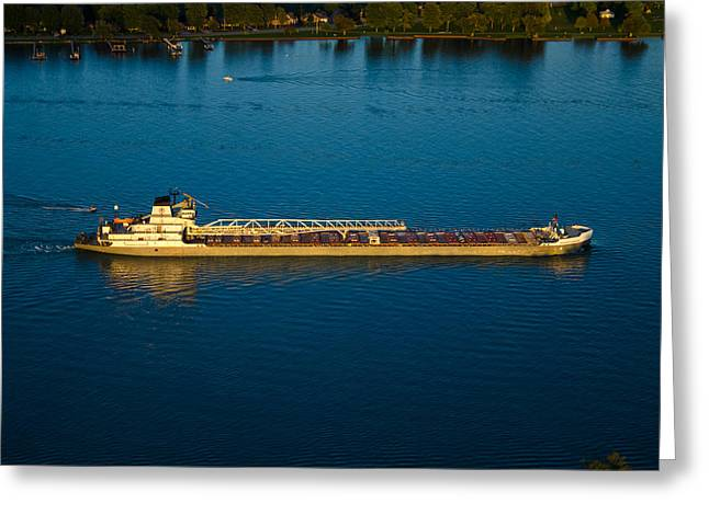 Saint Christopher Greeting Cards - An Evening on the Saint Clair River Greeting Card by Gales Of November