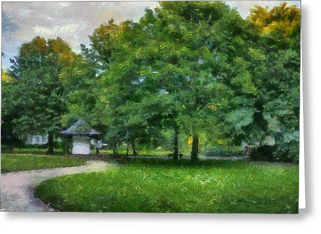 Garden Scene Digital Greeting Cards - An evening walk in the park Greeting Card by Nomad Art And  Design