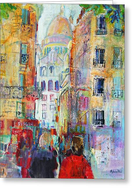 People Walking Greeting Cards - An Evening Walk to Sacre Coeur Greeting Card by Sylvia Paul