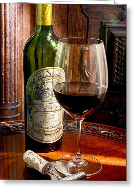 Red Wine Bottle Greeting Cards - An Evening with Far Niente Greeting Card by Jon Neidert