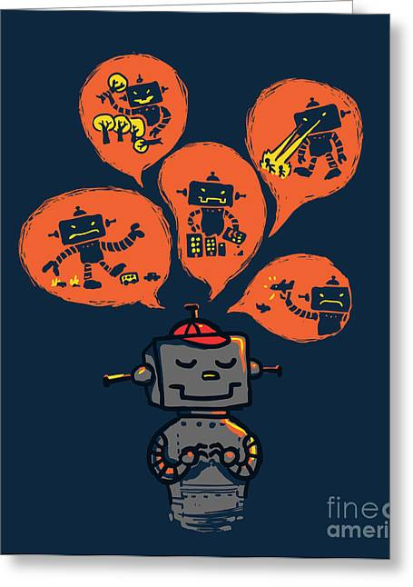 Destruction Greeting Cards - An Evil Robot Dream Greeting Card by Budi Satria Kwan