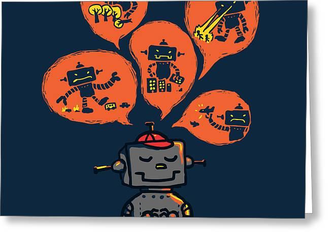 An Evil Robot Dream Greeting Card by Budi Kwan