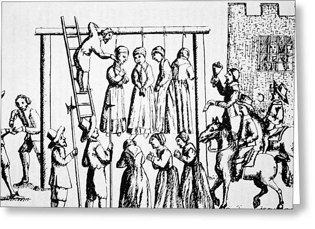 Executioner Greeting Cards - An Execution of Witches in England Greeting Card by English School