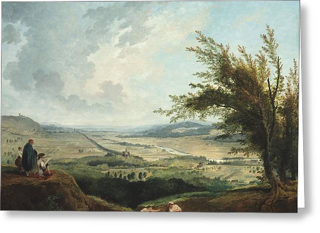 18th Century Digital Greeting Cards - An Extensive Landscape Near Paris Greeting Card by Nomad Art And  Design