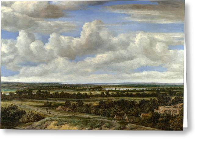 Landscape With A Road Greeting Cards - An Extensive Landscape with a Road by a River Greeting Card by Philips Koninck