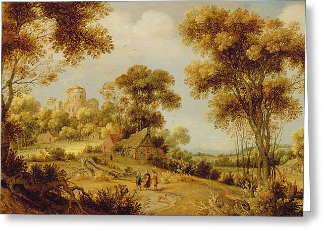 Resurrection Greeting Cards - An Extensive Wooded Landscape Greeting Card by Gillis Claesz d